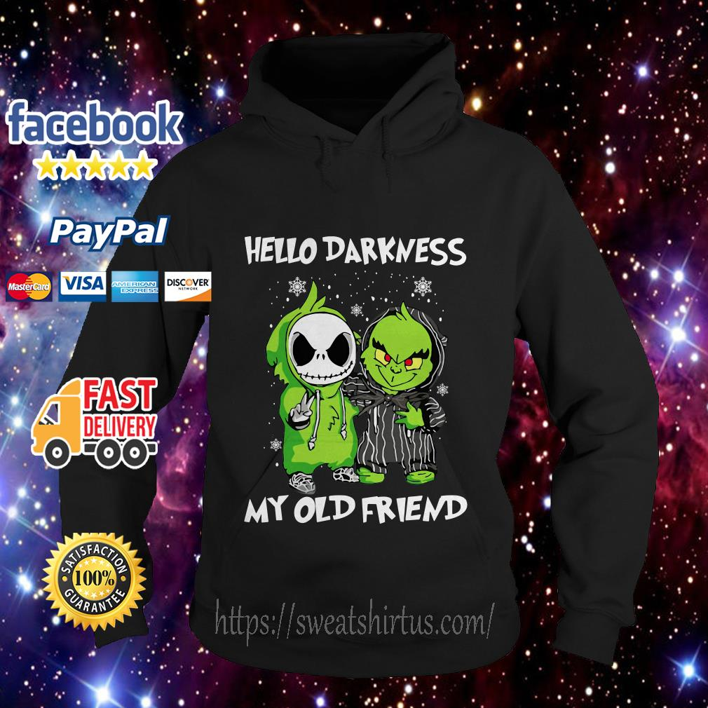 Baby Grinch and Jack Skellington hello darkness my old friend Hoodie