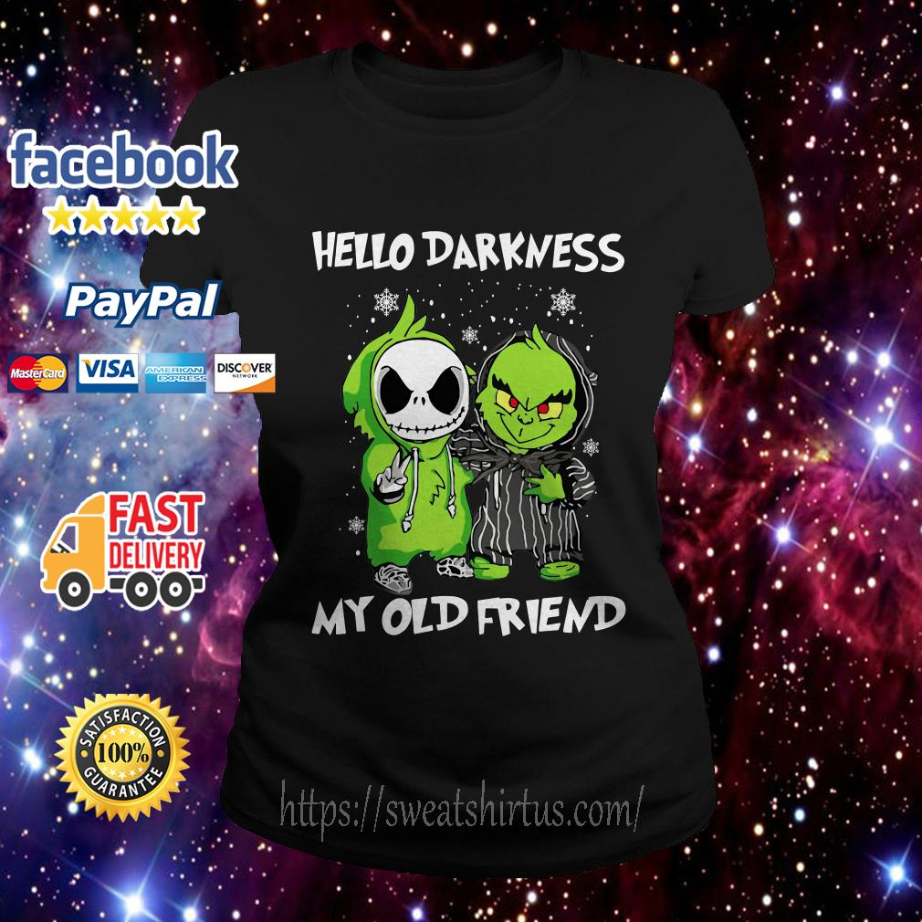 Baby Grinch and Jack Skellington hello darkness my old friend  Ladies Tee