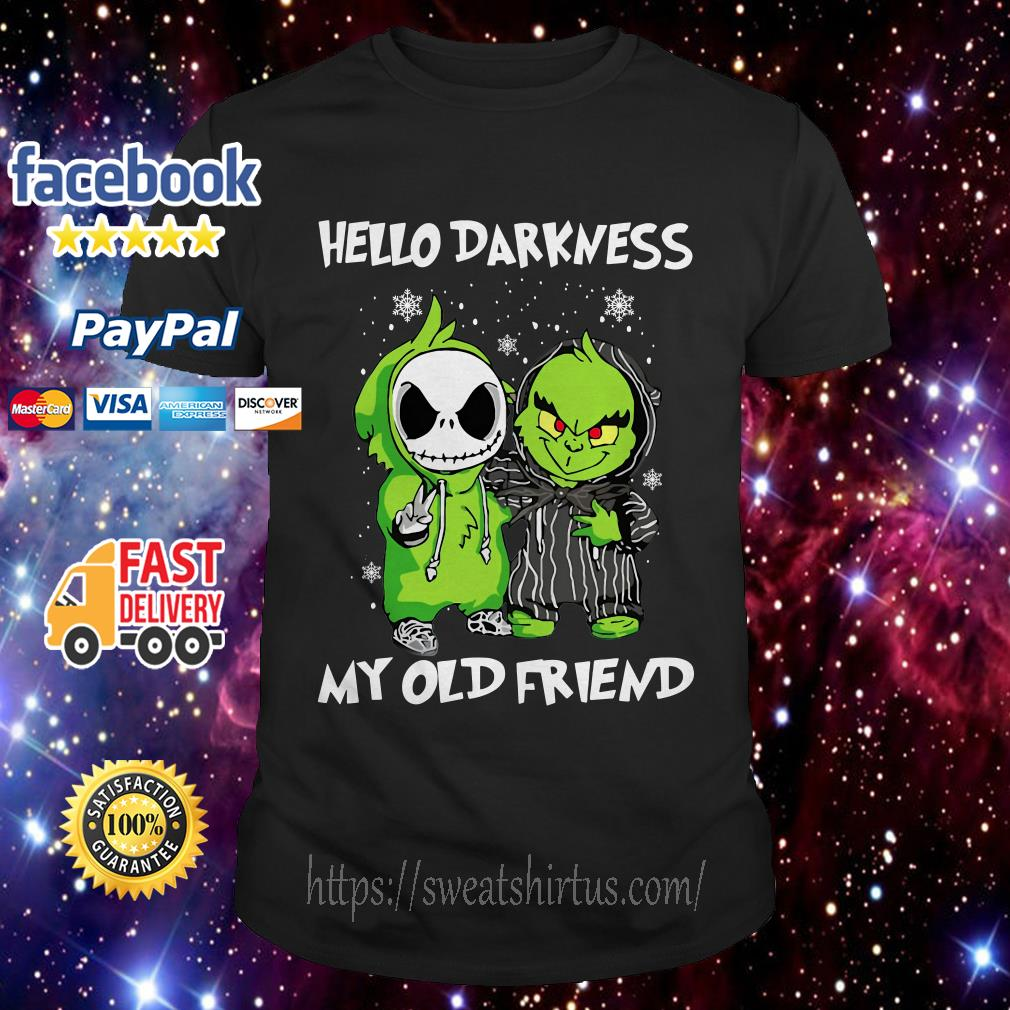 Baby Grinch and Jack Skellington hello darkness my old friend guys shirt