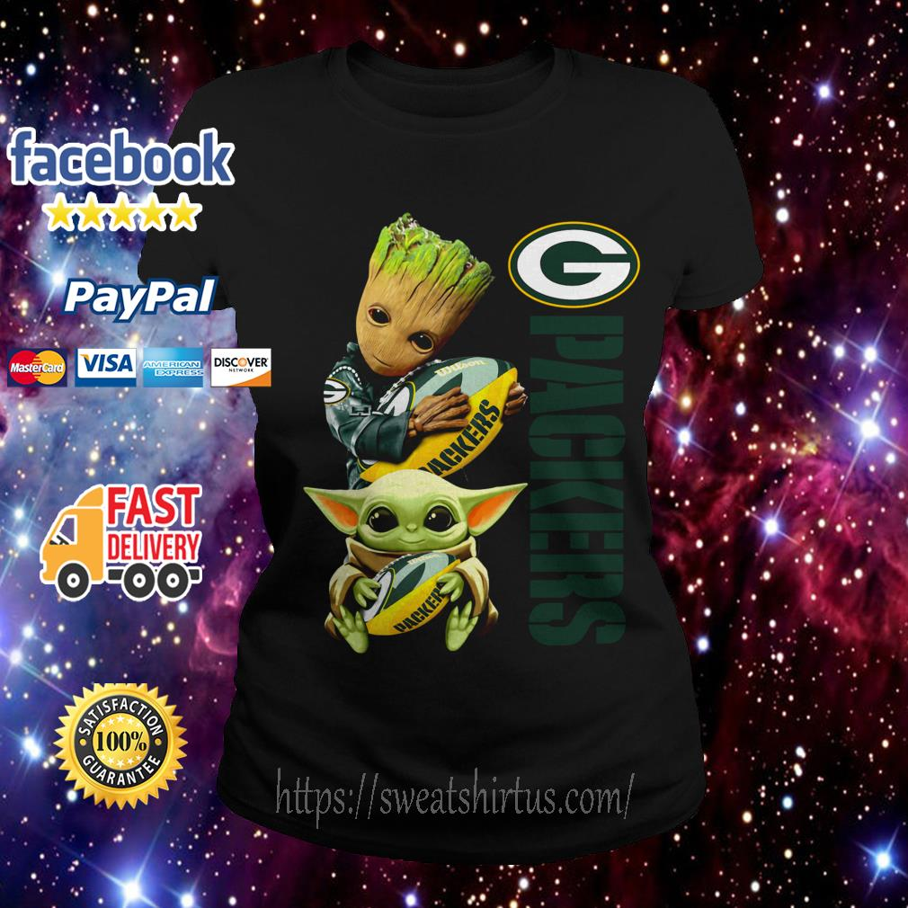 Baby Groot and baby Yoda hug Green Bay Packers Ladies Tee