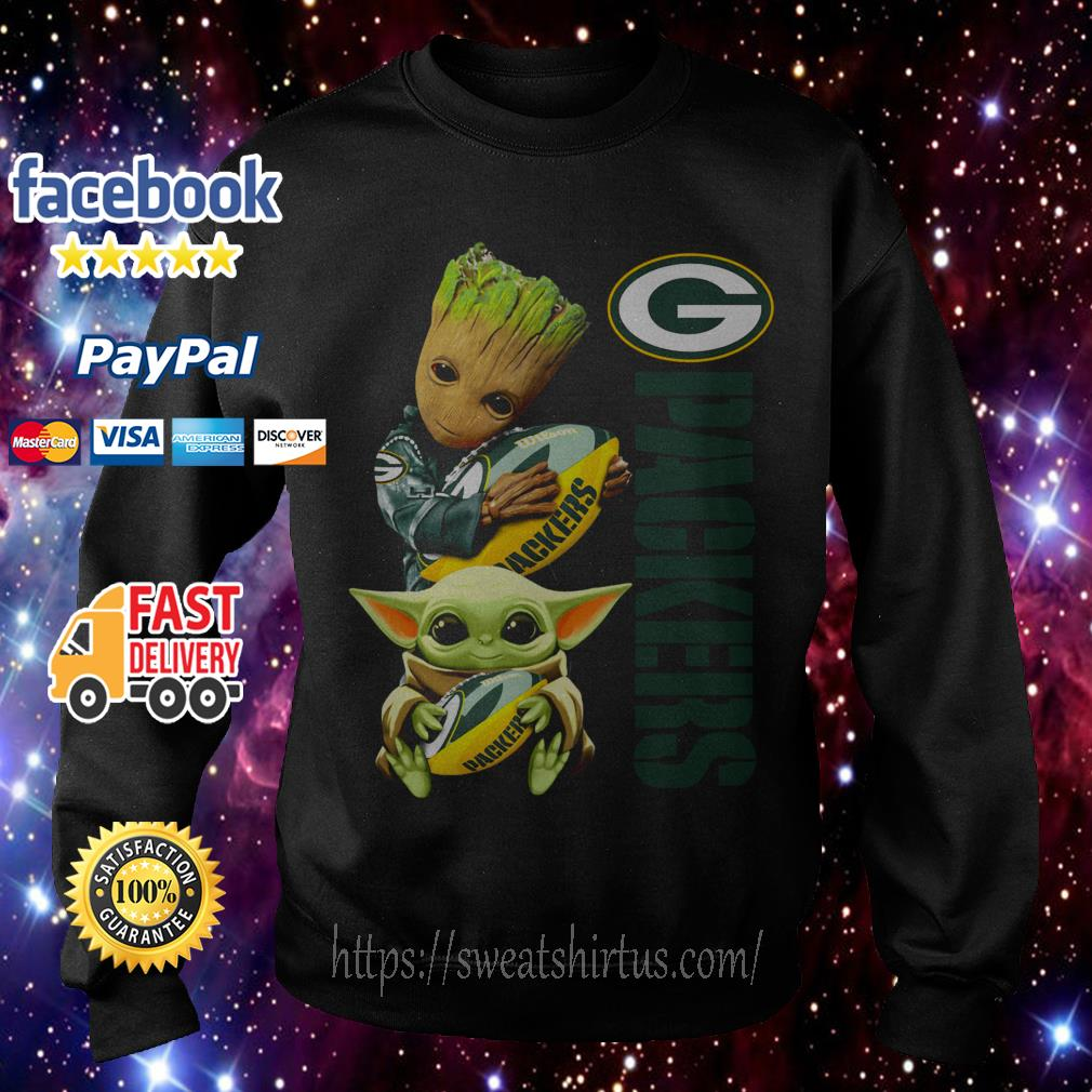 Baby Groot and baby Yoda hug Green Bay Packers Sweater