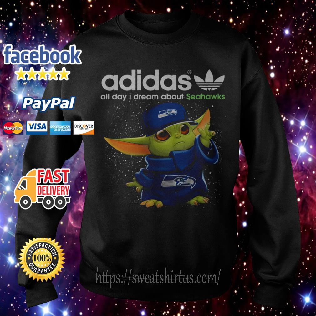 Baby Yoda Adidas all day I dream about Seahawks Sweater