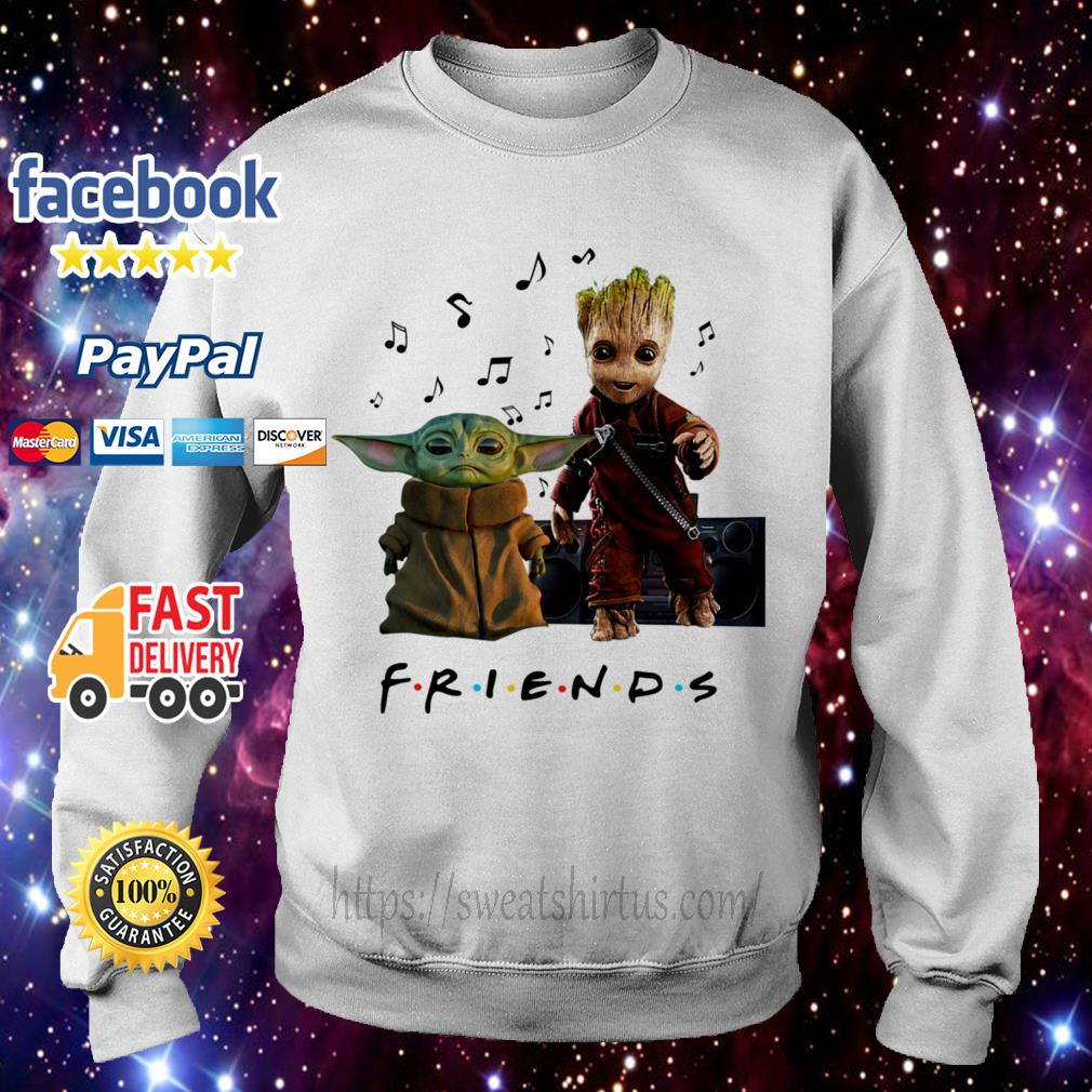 Baby Yoda and Baby Groot Friends TV show listening music Sweater