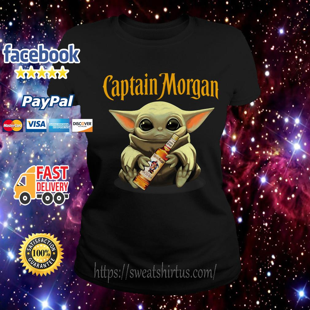 Baby Yoda drink Captain Morgan Ladies Tee