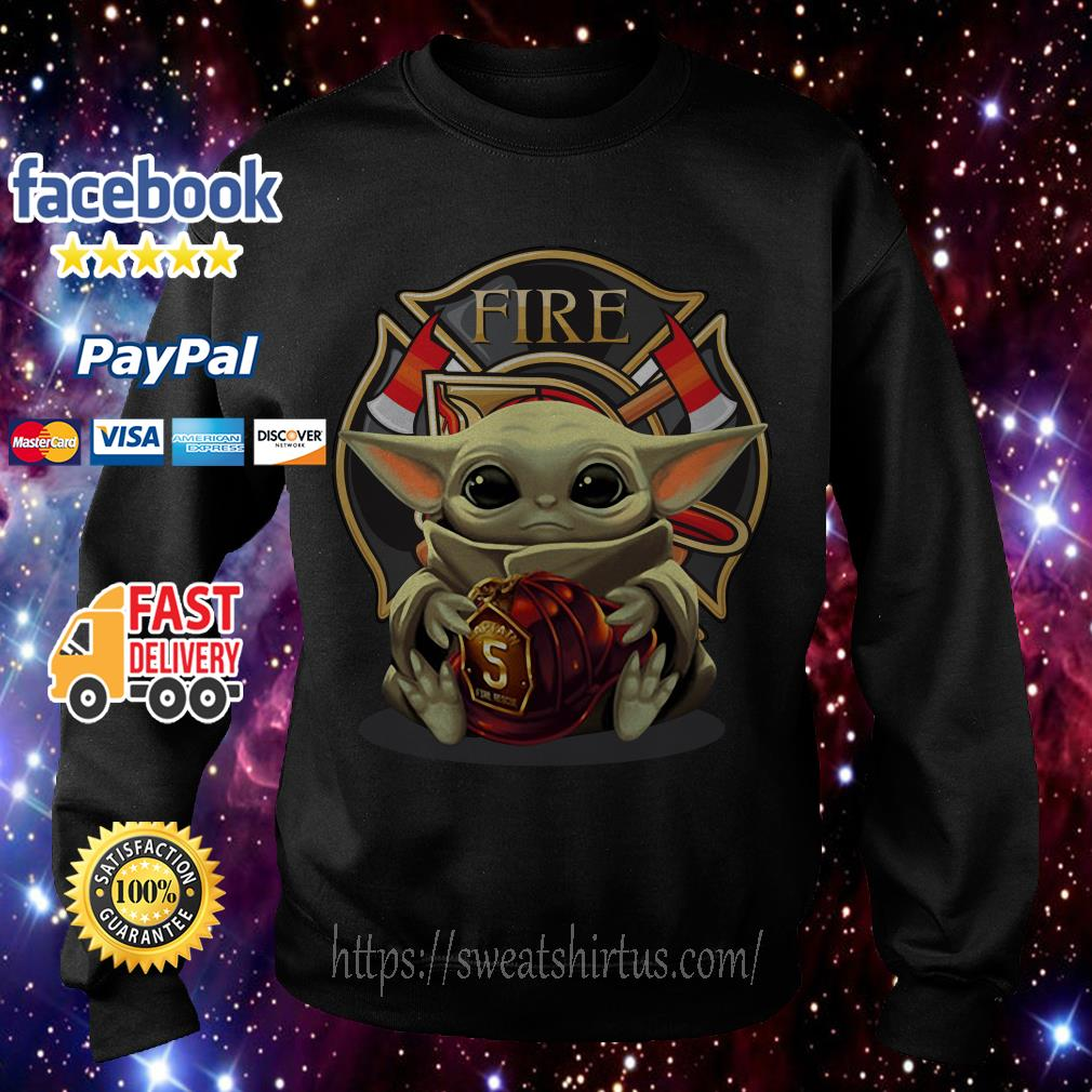 Baby Yoda hug Firefighter Fire Sweater