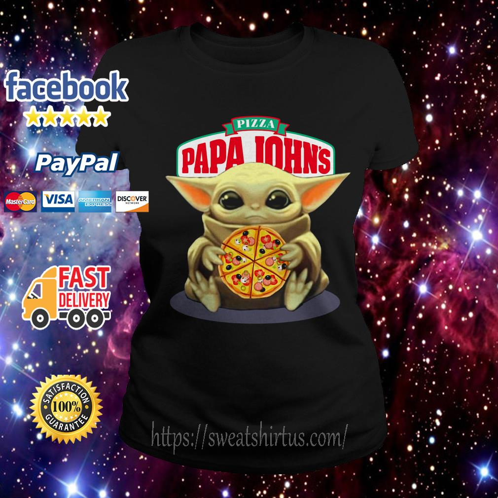 Baby Yoda hug Pizza Papa Johns Ladies Tee