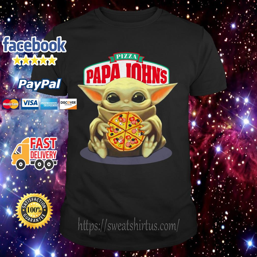 Baby Yoda hug Pizza Papa Johns shirt