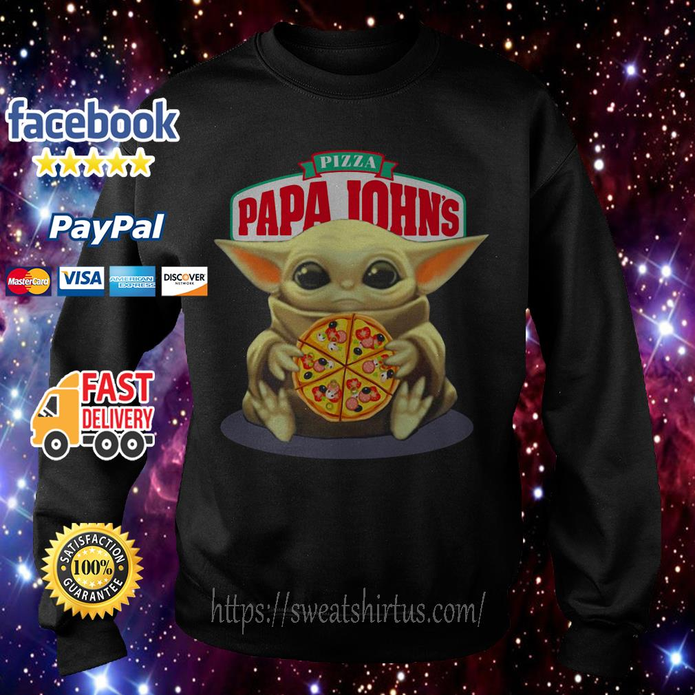 Baby Yoda hug Pizza Papa Johns Sweater