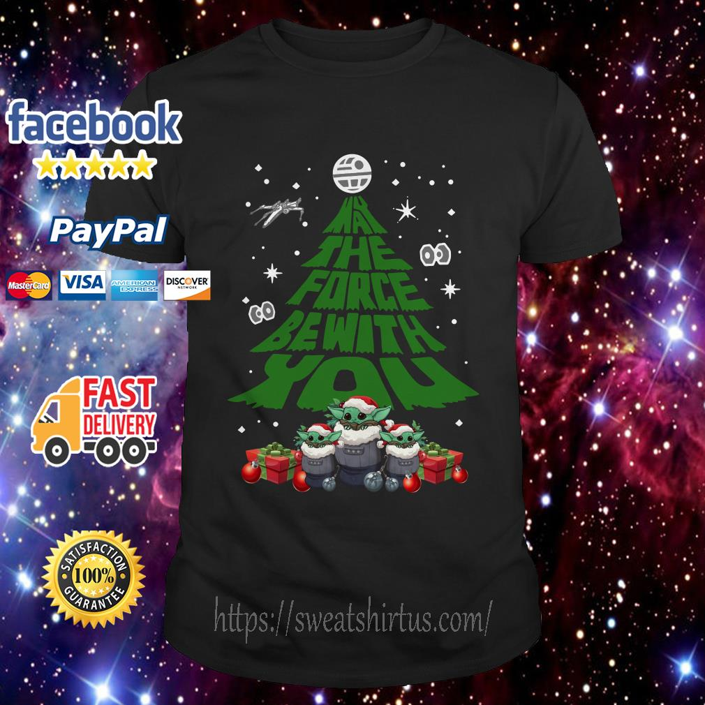 Baby Yoda May The Force Be With With You Christmas Tree guys shirt