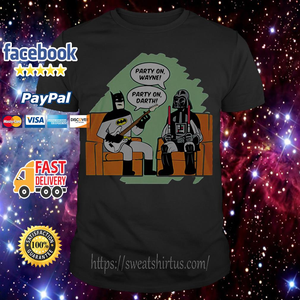 Batman and Darth Vader Star Wars party on Wayne party on Darth shirt