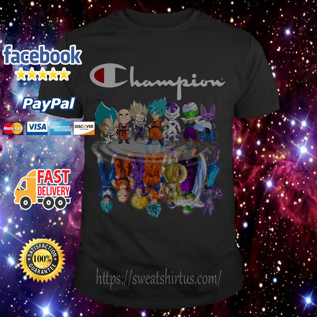 Champion Dragon Ball characters Chibi water mirror reflection shirt