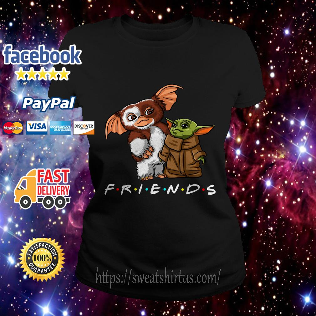 Gremlins and Baby Yoda Mandalorian Friends TV Show Ladies Tee
