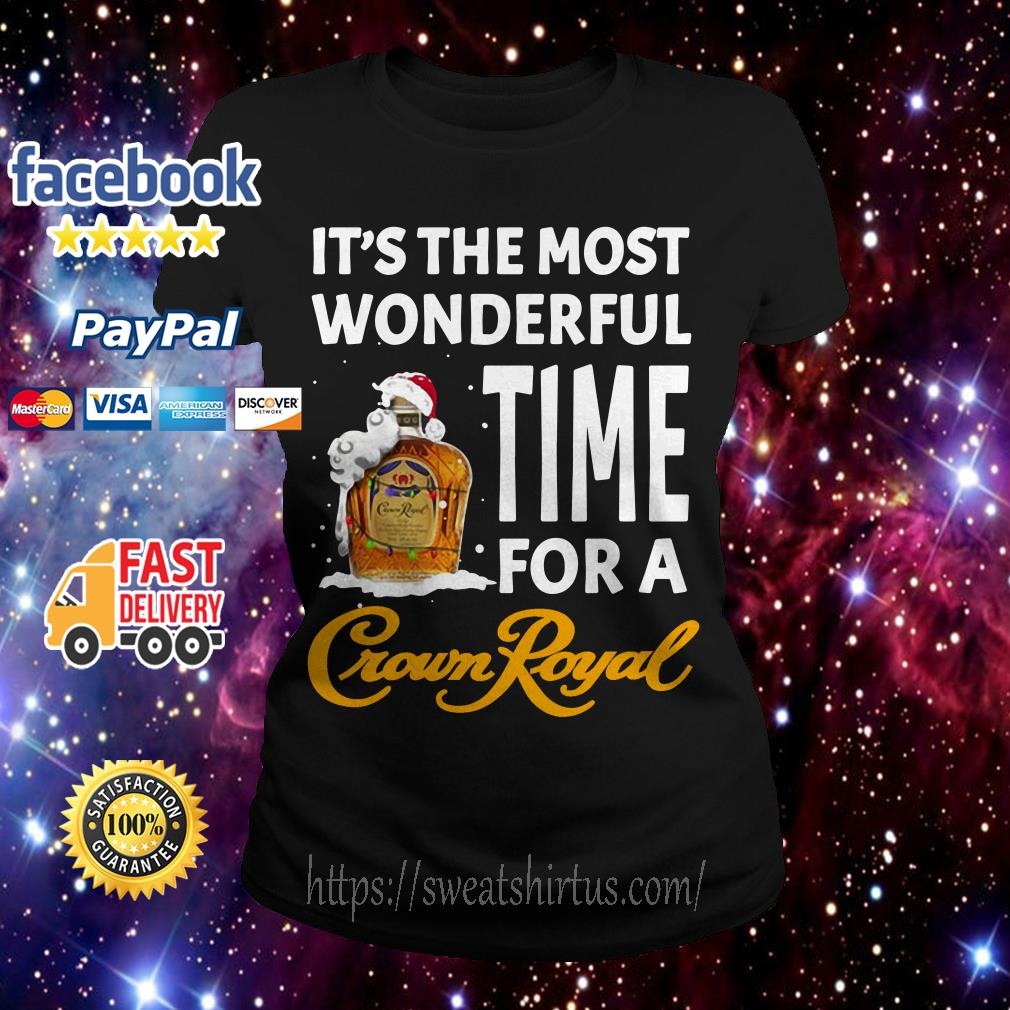 It's the most wonderful time for a Crown Royal Santa Christmas Ladies Tee