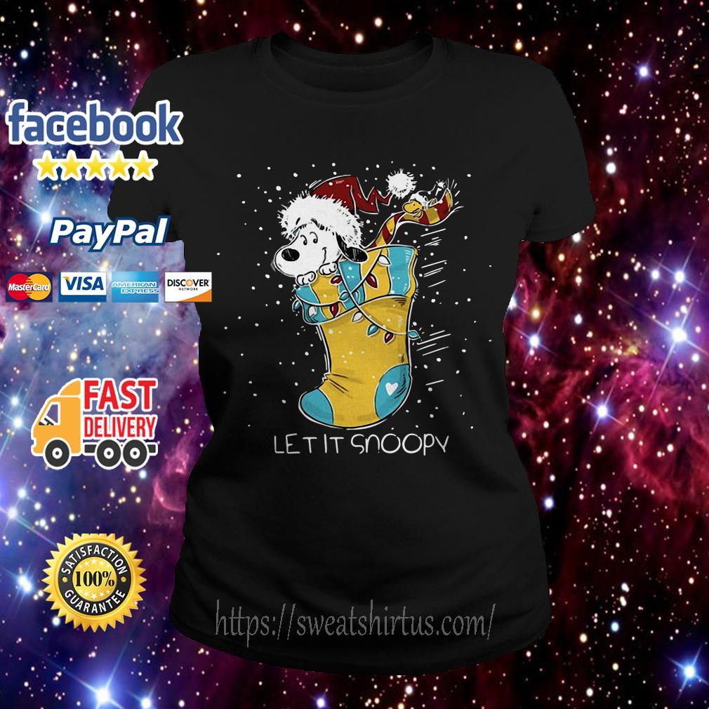 Let it Snoopy and Woodstock sock Christmas Ladies Tee
