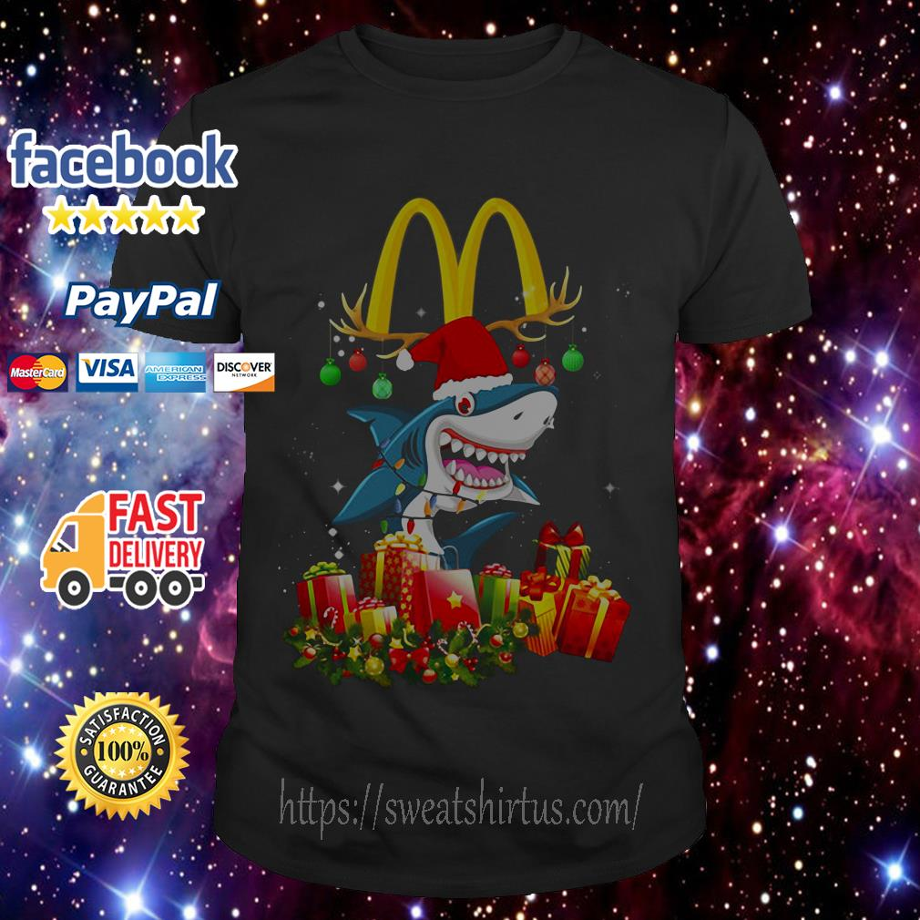 Mcdonald's Shark Christmas guys shirt