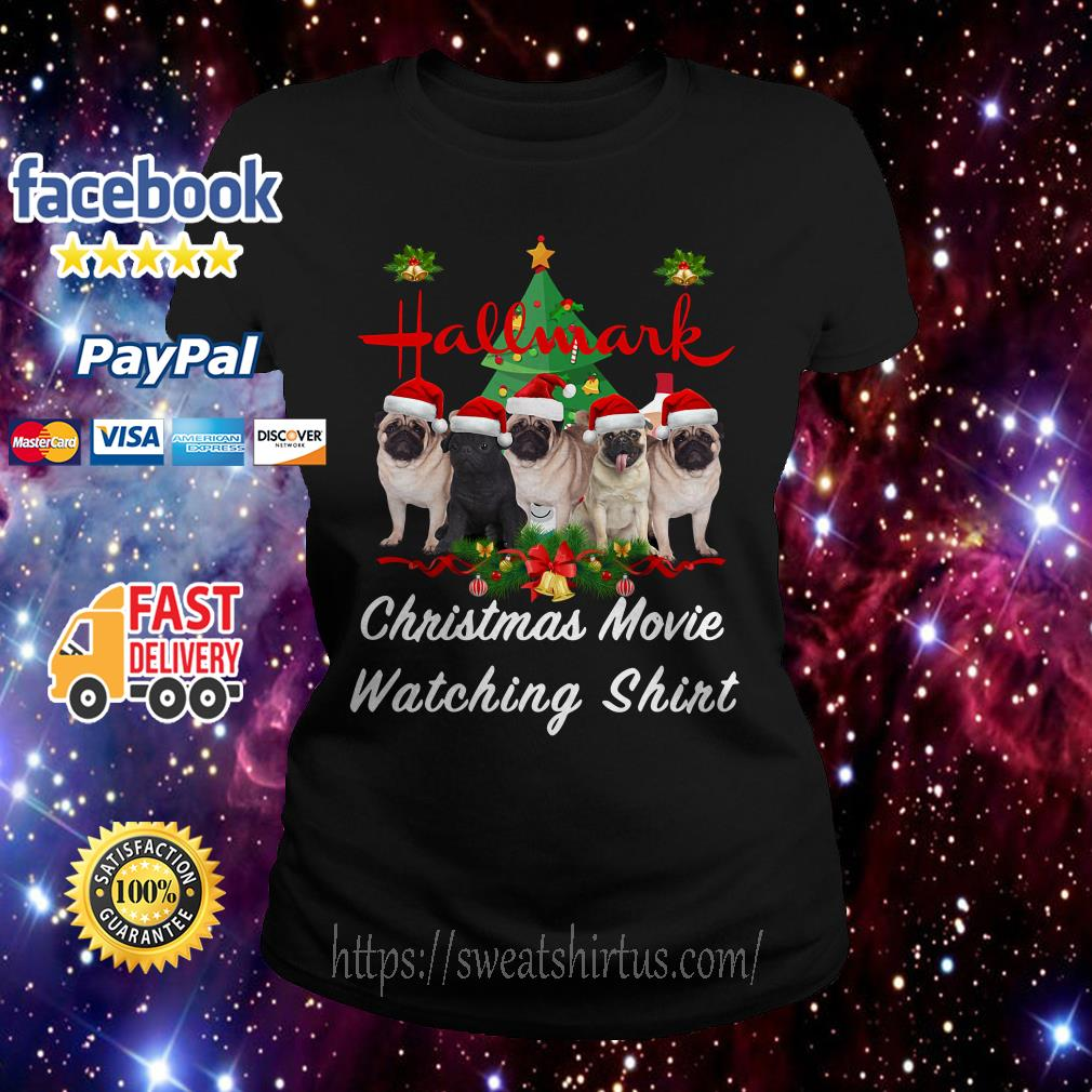 Pug dog Hallmark Christmas movie watching Ladies Tee