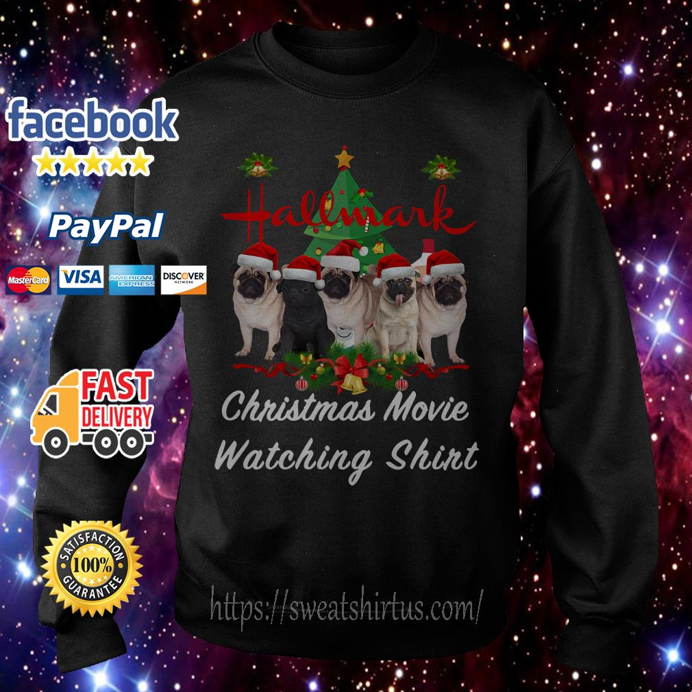 Pug dog Hallmark Christmas movie watching shirt, sweater