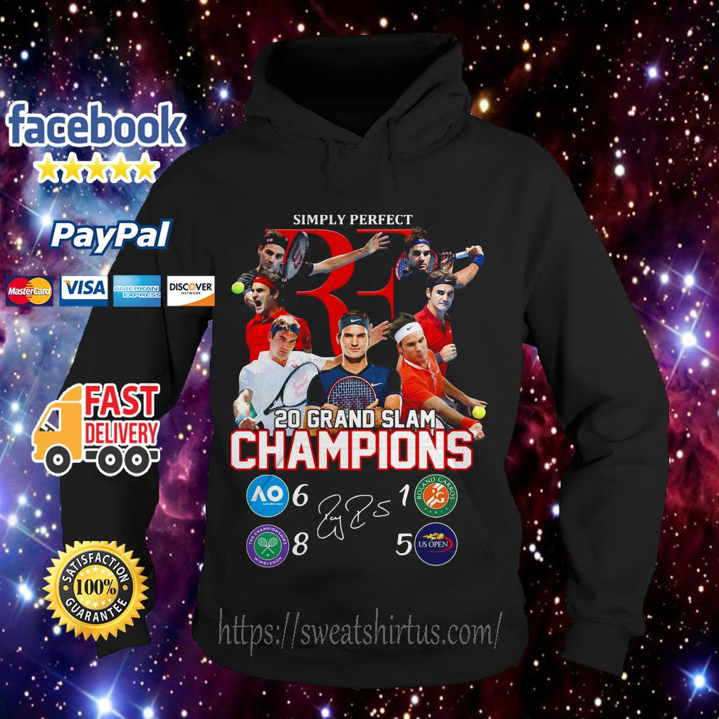 Roger Federer simply perfect 20 Grand Slam Champions signature Hoodie