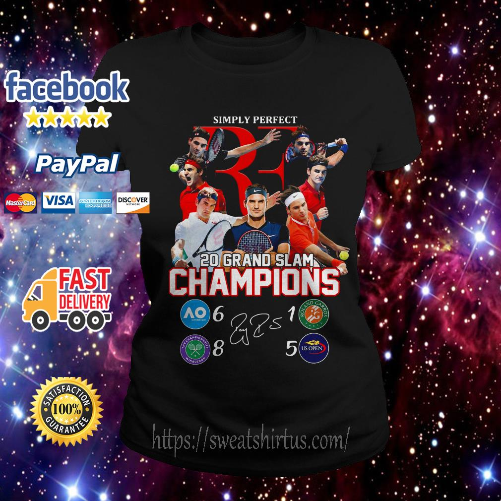 Roger Federer simply perfect 20 Grand Slam Champions signature Ladies Tee