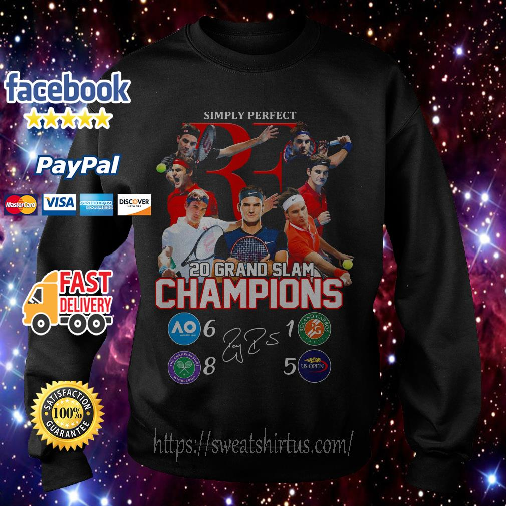 Roger Federer simply perfect 20 Grand Slam Champions signature Sweater