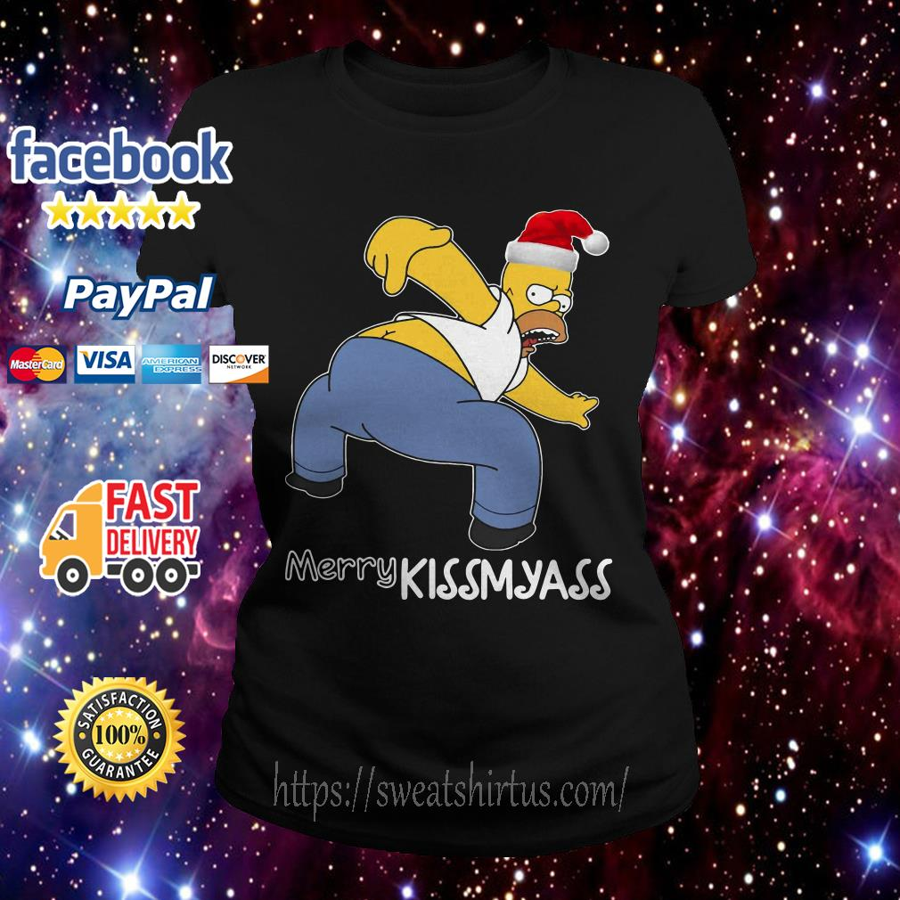 Simpsons Santa Merry Kissmyass Ladies Tee