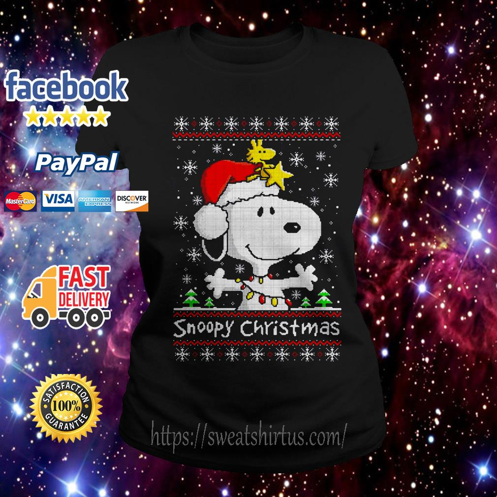 Snoopy and Woodstock Christmas ugly Ladies Tee