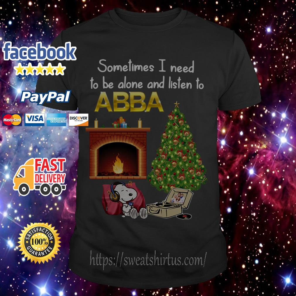 Snoopy Sometimes I need to be alone and listen to ABBA Christmas guys shirt
