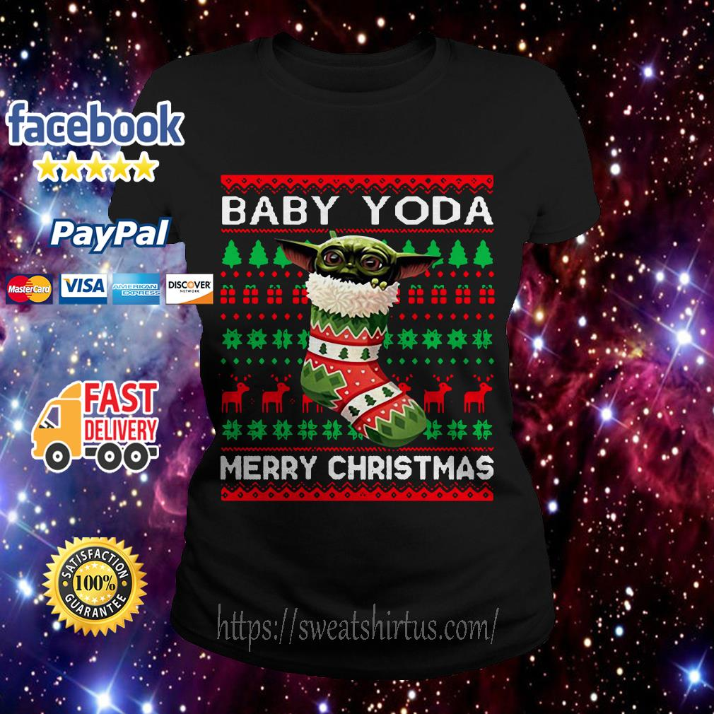 Socks Baby Yoda Merry Christmas ugly Christmas ladies Tee