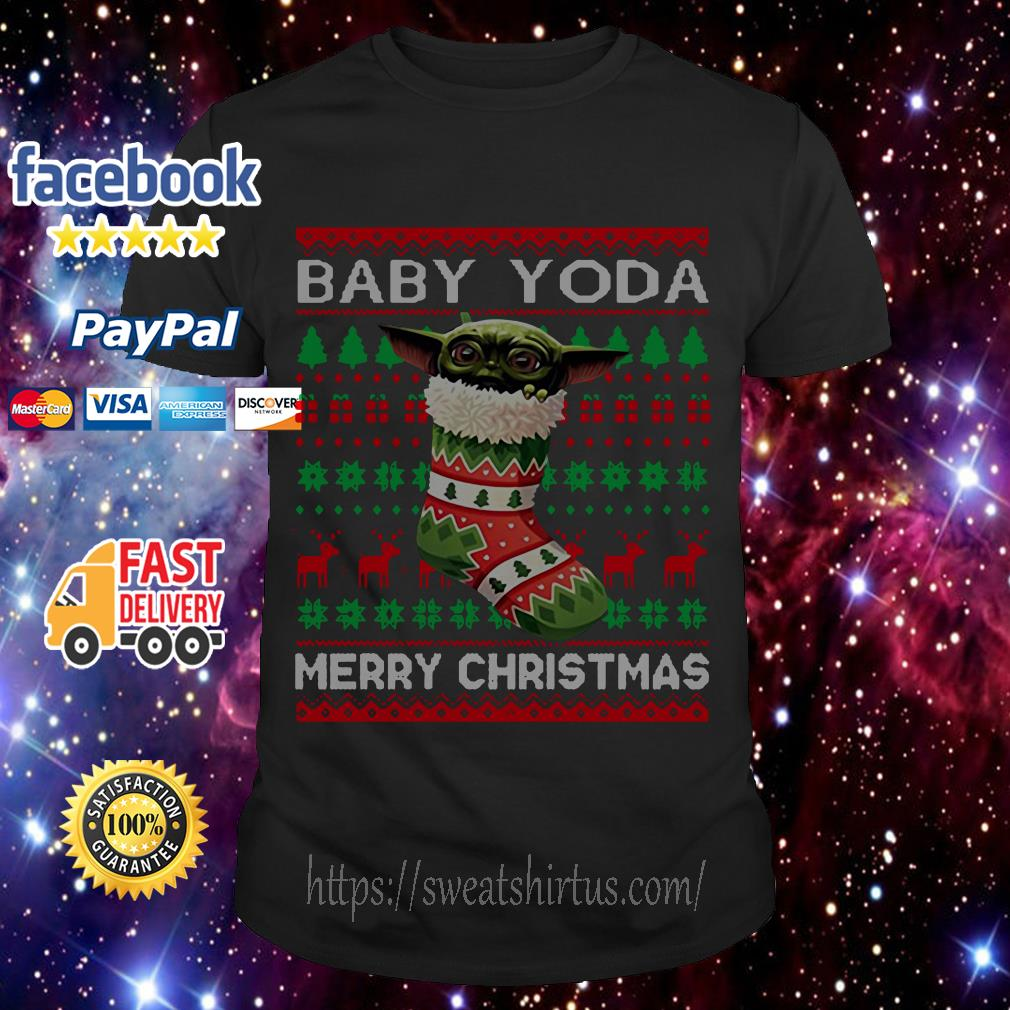 Socks Baby Yoda Merry Christmas ugly Christmas guys shirt