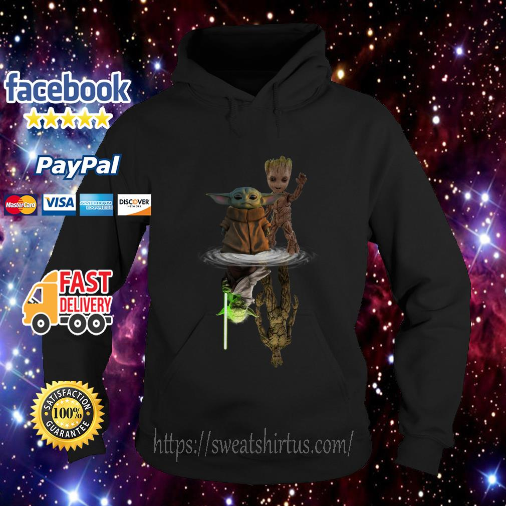Star Wars Baby Yoda and Baby Groot mirror reflection Hoodie