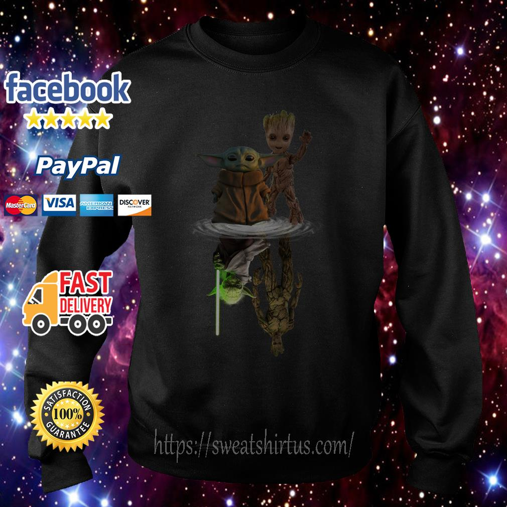 Star Wars Baby Yoda and Baby Groot mirror reflection Sweater