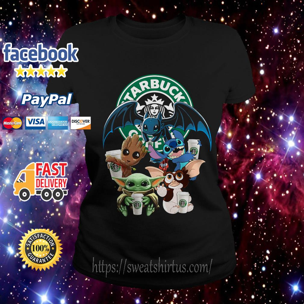 Starbucks Baby Yoda Groot Stitch Toothless and Gremlins Ladies Tee