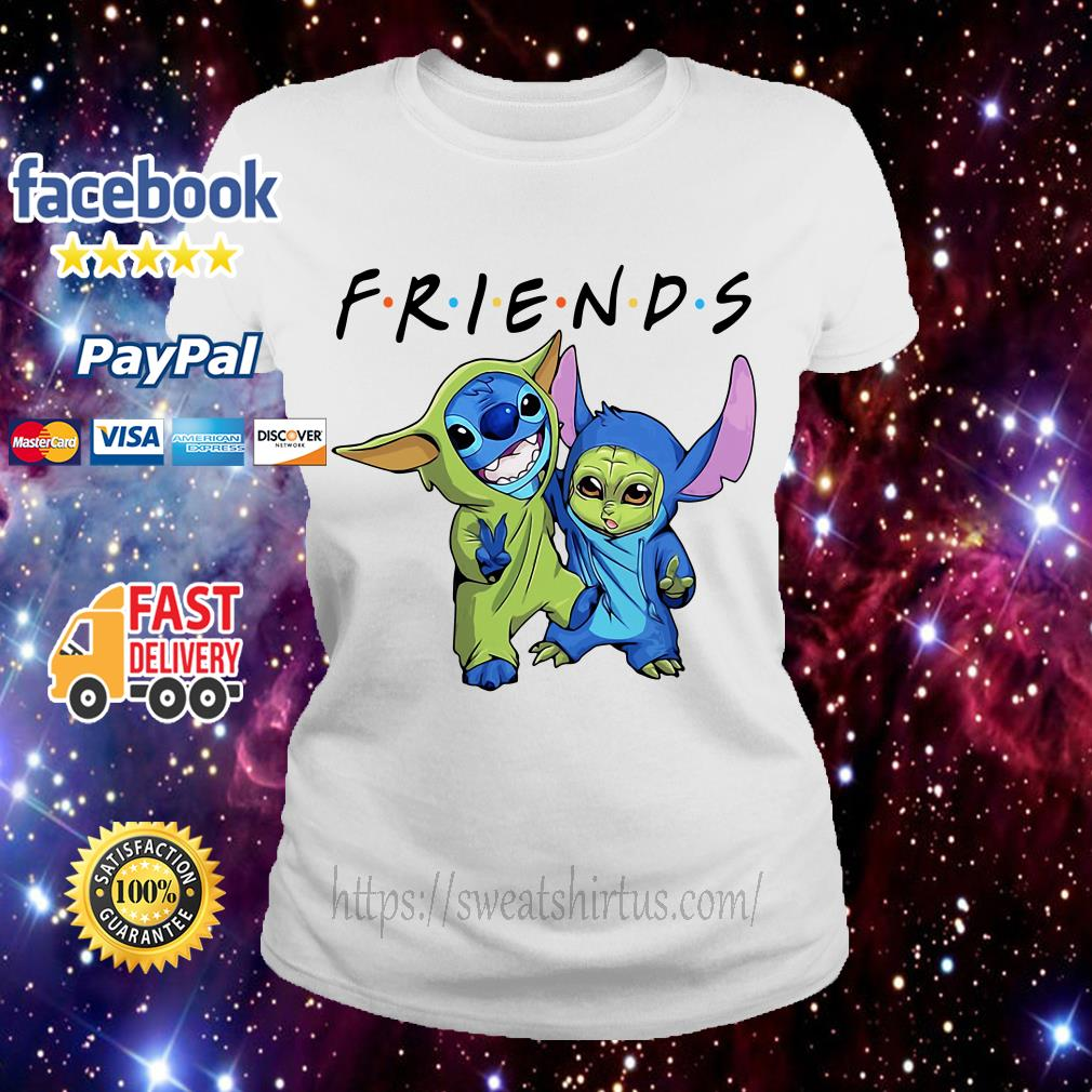 Stitch and Baby Yoda Friends TV Show Ladies Tee