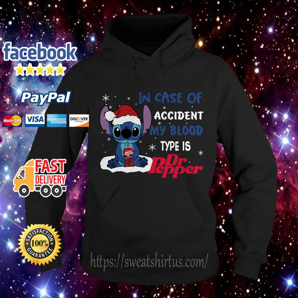 Stitch Santa in case of accident my blood type is Dr.Pepper Christmas Hoodie