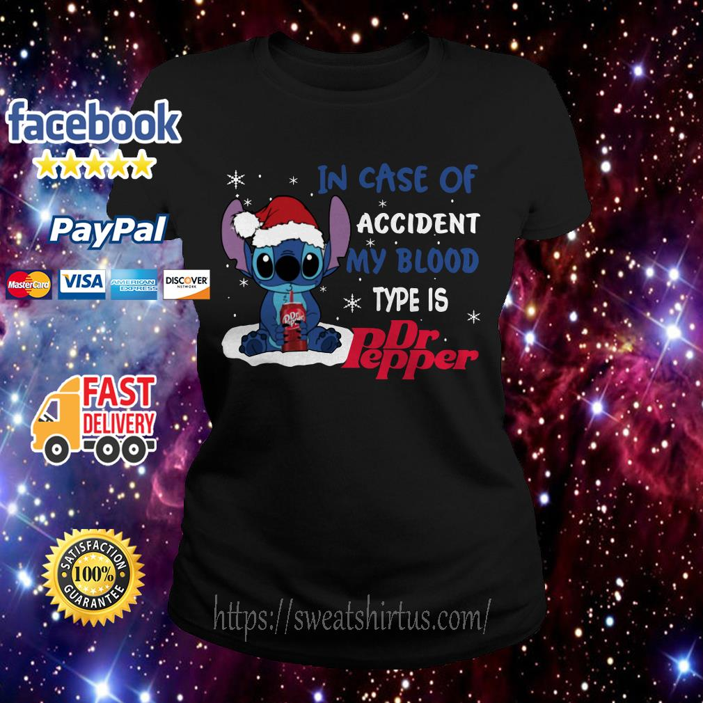 Stitch Santa in case of accident my blood type is Dr.Pepper Christmas Ladies Tee