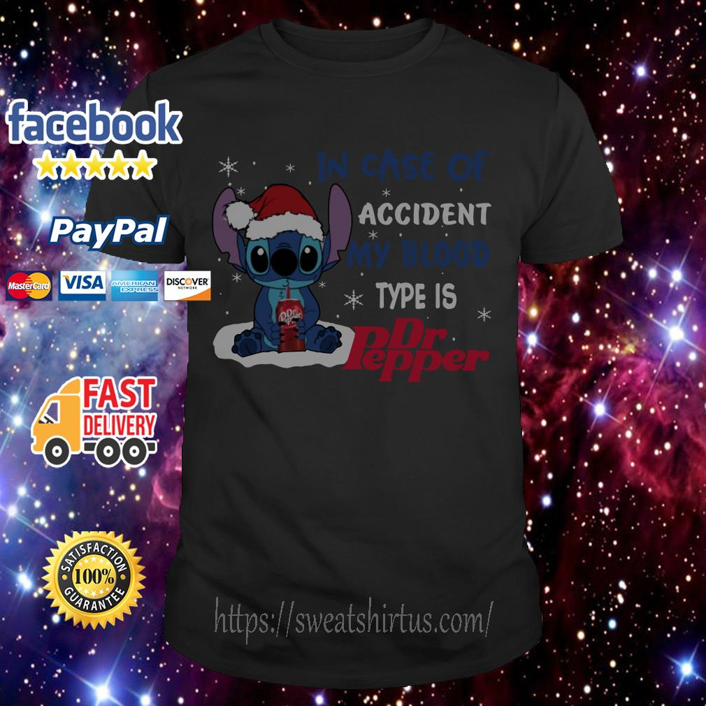 Stitch Santa in case of accident my blood type is Dr.Pepper Christmas guys shirt