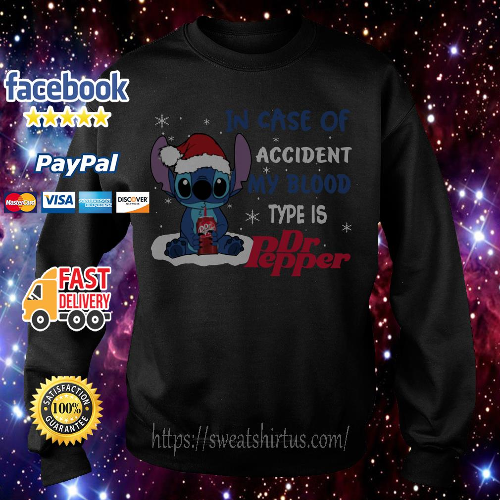 Stitch Santa in case of accident my blood type is Dr.Pepper Christmas shirt, sweater