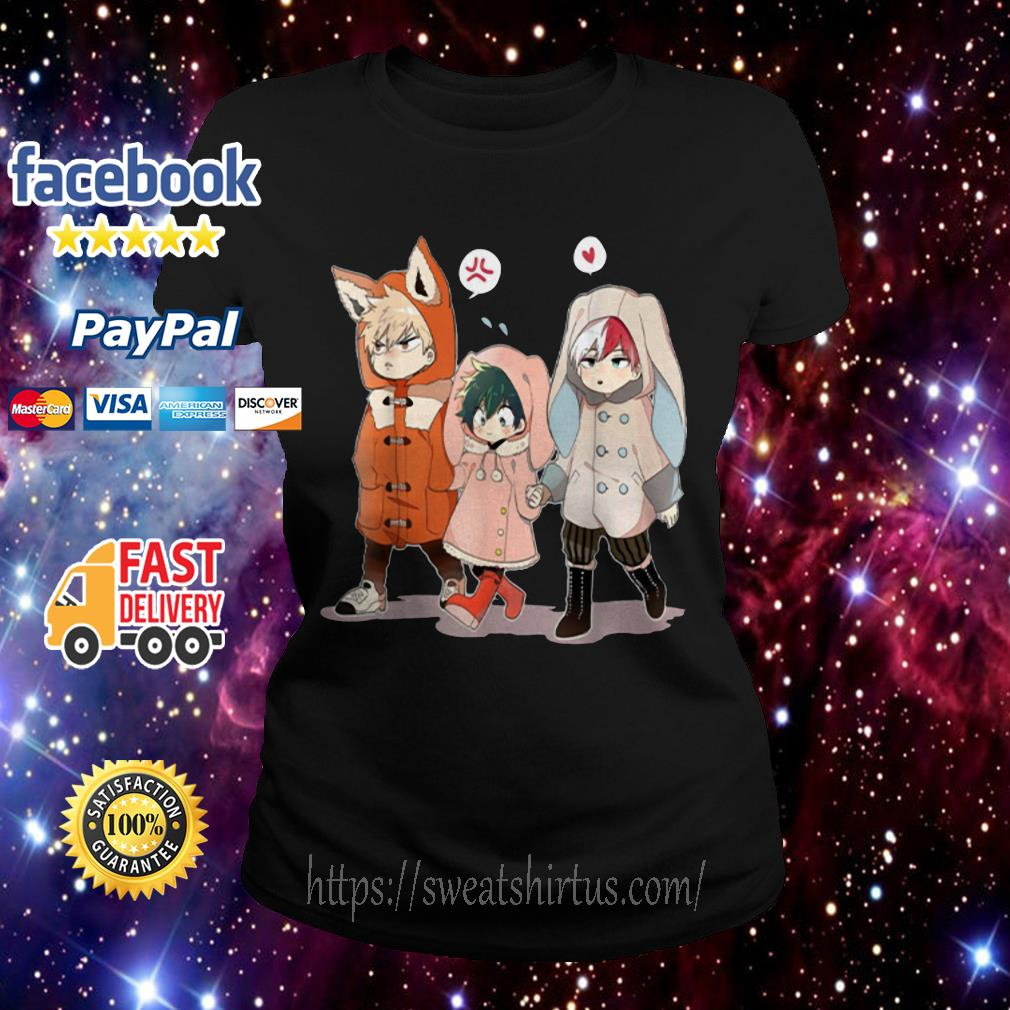 Todoroki and Midoriyas Bakugou Chibi  Ladies Tee
