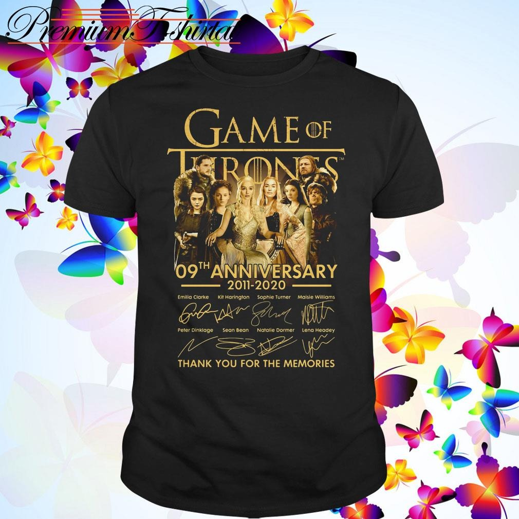 Game of Thrones 09th anniversary 2011-2020 thank you for the memories shirt