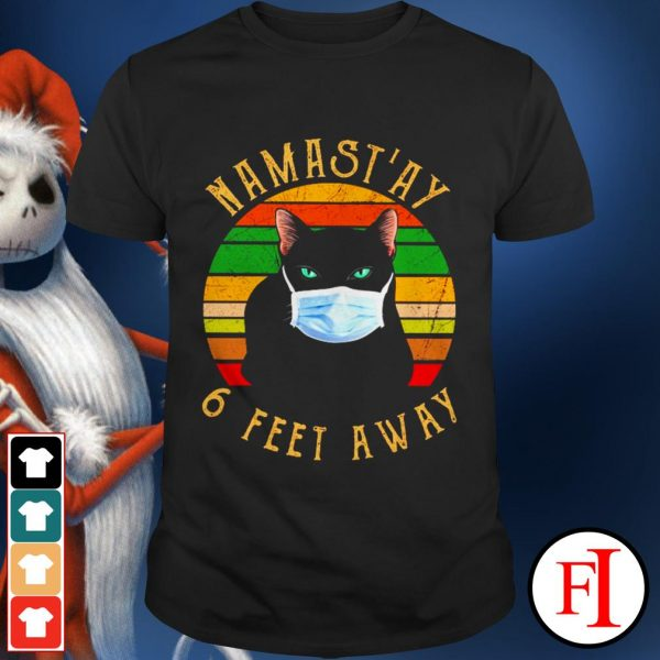 Namast'ay 6 feet away sunset Cat face mask shirt