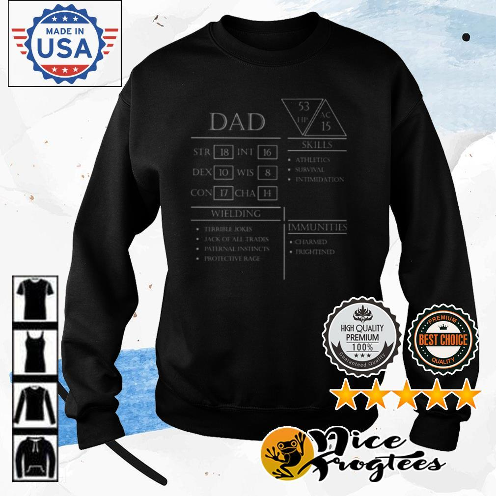 Dad stats character sheet shirt