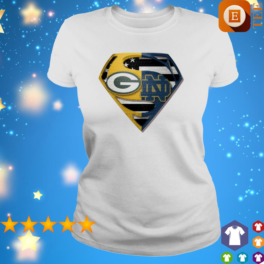 Superman Green Bay Packers and Notre Dame Fighting American flag shirt