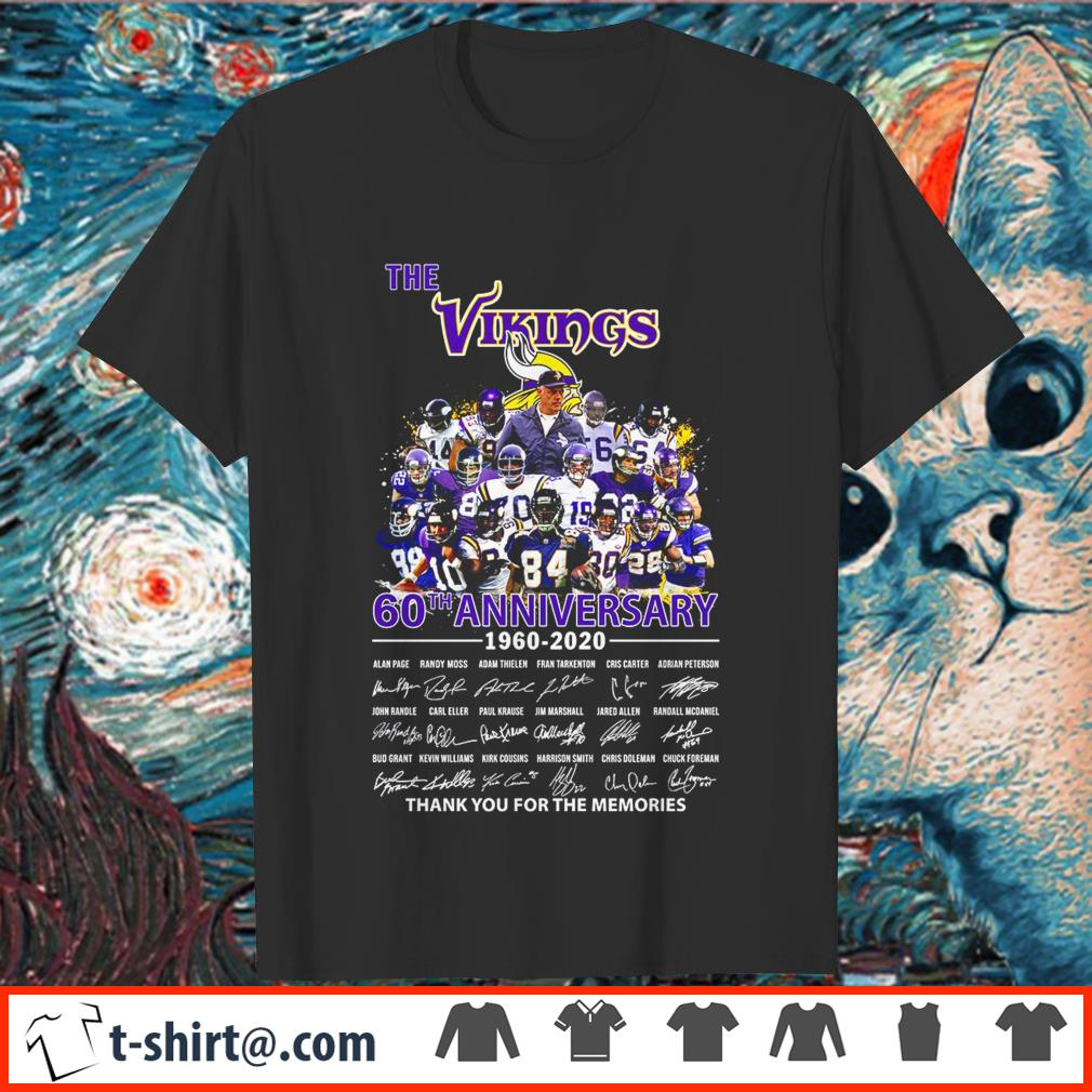 The Vikings 60th anniversary 1960-2020 thank you for the memories shirt