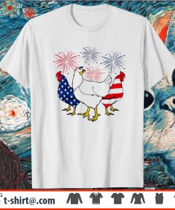 Firework Chicken red white blue 4th of July shirt