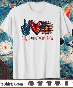 Peace Love Sunflower Cross American Flag Veteran Independence Day shirt