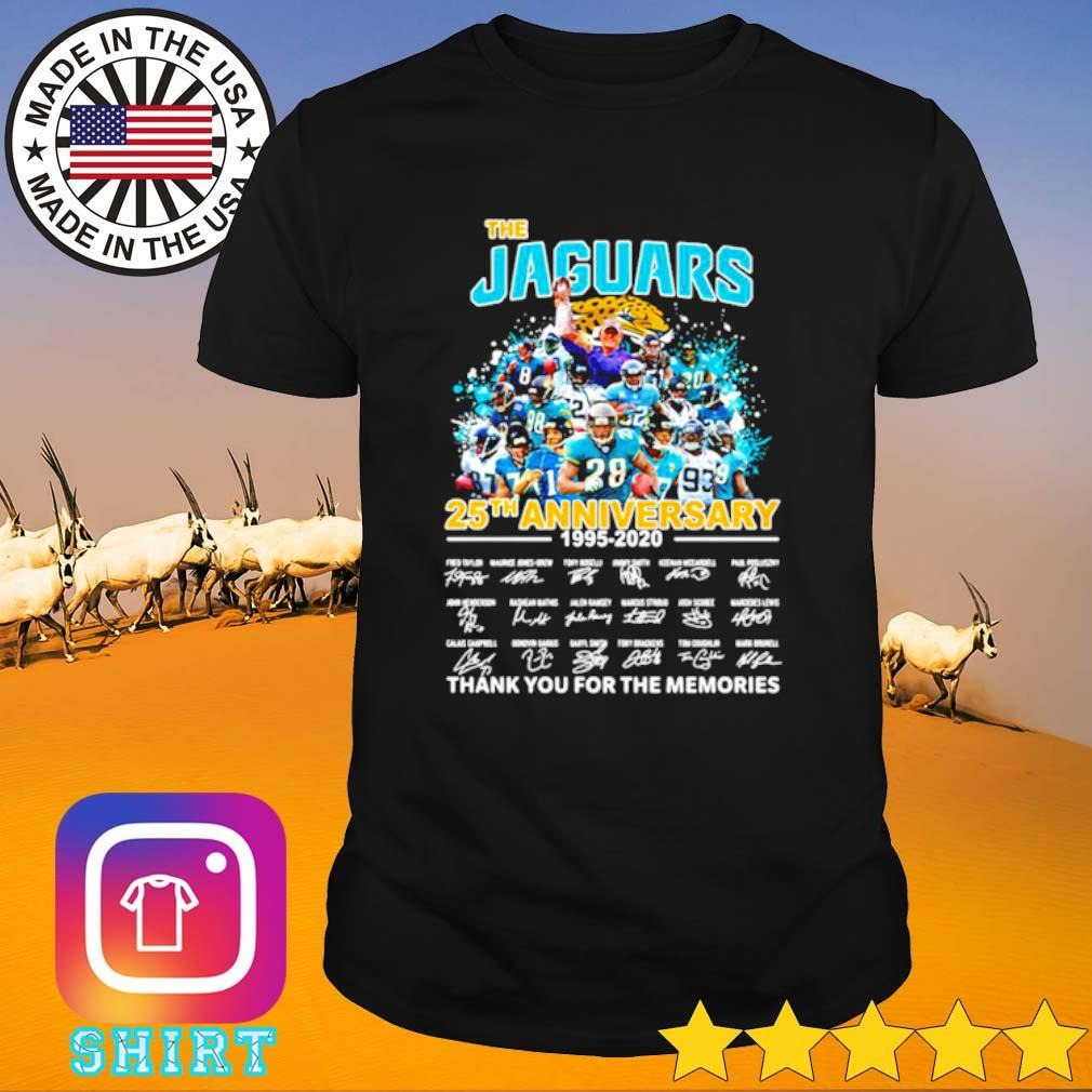 The Jacksonville Jaguars 25th anniversary 1995-2021 thank you for the memories shirt