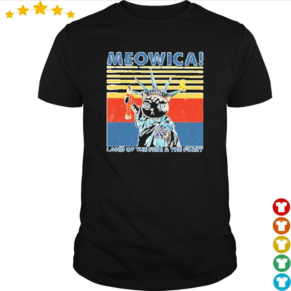 Vintage Meowica land of the free and the furry shirt